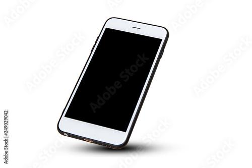 Obraz Mobile smart phone on white background technology - fototapety do salonu