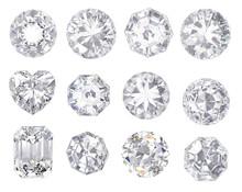 Diamond And Gemstone On Clear...