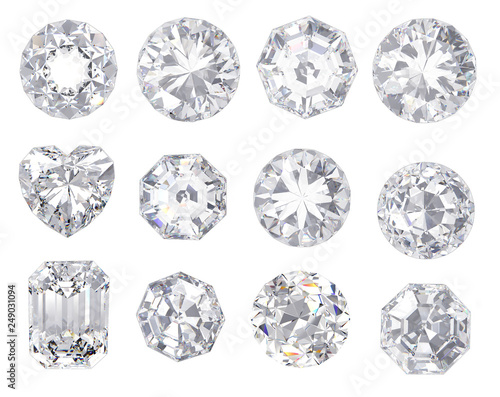 diamond and gemstone on clear background Wallpaper Mural