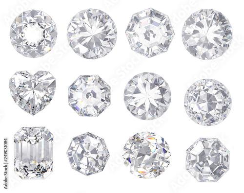 Fototapeta diamond and gemstone on clear background