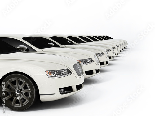 Luxury car fleet consisting of generic brandless design Wallpaper Mural