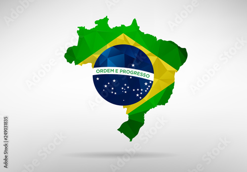 Fototapeta Brazil map with national flag
