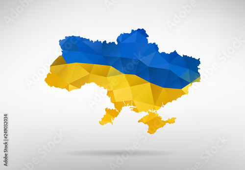 Photo Ukraine map with national flag