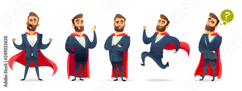 Businessman in a superhero costume. Character collection of business hero in various poses. Super manager set - 249033638