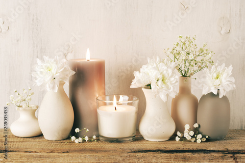 Fotografie, Obraz  White flowers in neutral colored vases and candles