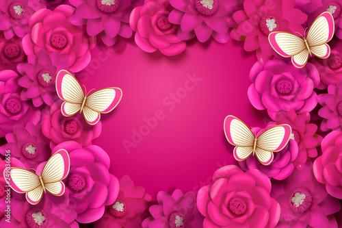 Valokuva Fuchsia paper flowers background