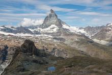 View Closeup Matterhorn Mountain, Scenes In National Park Zermatt, Switzerland