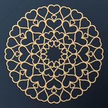 Laser Cutting Mandala. Golden Floral Pattern With Hearts. Oriental Silhouette Ornament. Vector Coaster Design.