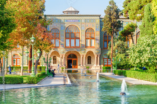 Scenic view of the Golestan Palace and fountains, Tehran, Iran