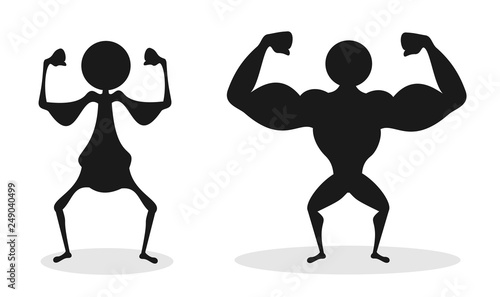 Fotografia Comparison of unhealthy bad and poor physique vs strong and big musculature of muscular bodybuilder