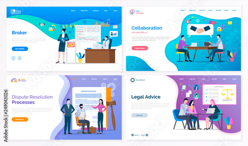 Broker and collaboration, dispute resolution processes and legal advice vector Canvas Print