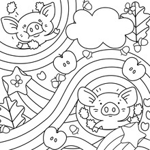 Background With Pigs, Acorns, Apples, Stars And Leaves.Line Art Vector Illustration In Cartoon Style.Ideal For Coloring Books.
