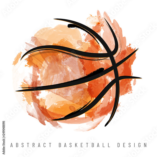 Fotografia, Obraz Abstract watercolor basketball ball on white background