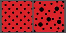 Two Ladybug Patterns Set. Red And Black Backgrounds. Bright Polka Dot Backdrops