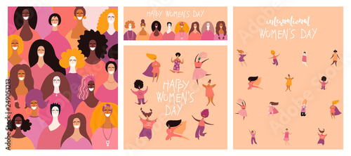 In de dag Illustraties Set of womens day cards with diverse women and lettering quotes. Hand drawn vector illustration. Flat style design. Concept, element for feminism, girl power, poster, banner, background.