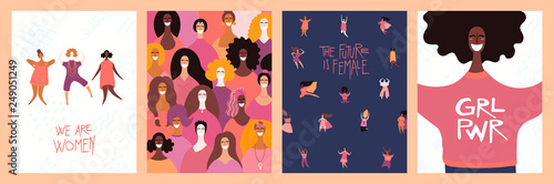 Recess Fitting Illustrations Set of womens day cards with diverse women and lettering quotes. Hand drawn vector illustration. Flat style design. Concept, element for feminism, girl power, poster, banner, background.