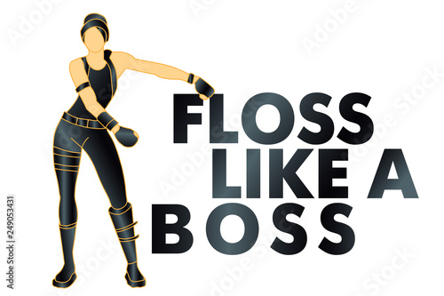 floss like a boss, dance, t-shirt - Vector Wallpaper Mural
