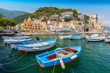 Leisure Boats And Traditional Buildings In Cetara Harbor, Amalfi Coast, Italy.