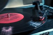 Vinyl Record Closeup With Shine Line