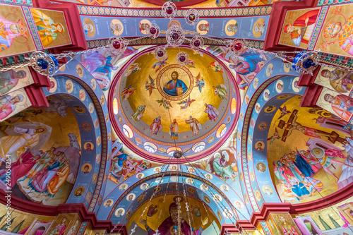 Interior of the Greek Orthodox Church of the Twelve Apostles in Capernaum by the Sea of Galilee (Lake Tiberias), Israel, Middle East Fototapeta