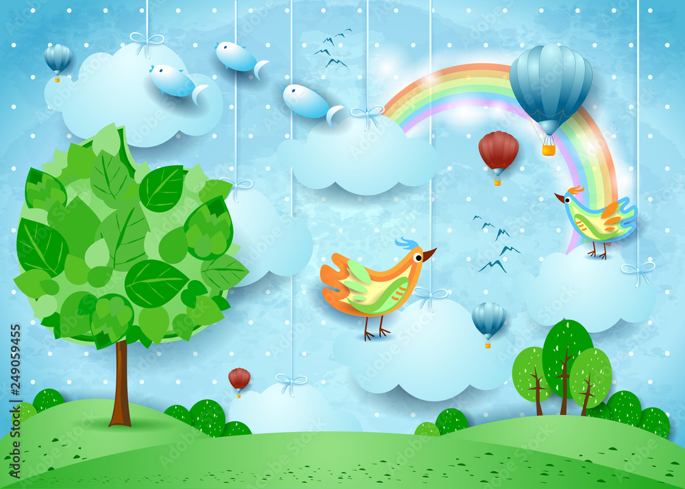 Fototapeta Surreal landscape with big tree, balloons, birds and flying fisches