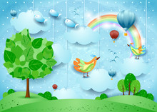 Surreal Landscape With Big Tree, Balloons, Birds And Flying Fisches