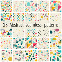 Set Of Abstract Seamless Geometric Patterns