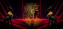 Egyptian Asbstract Background, Goddess Of Egypt Bastet And Cleopatra, Pyramids, Abstract Dark Background
