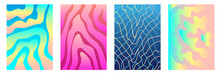 Set Of Colorful Covers With Fluid Stripes.