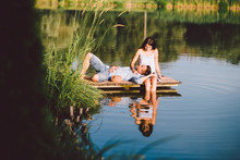 Young Love Couple At The Lake ...