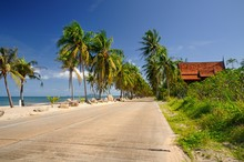 Scenic Concrete Road Along Paradise Ban Krut Beach At Bang Saphan District Of Prachuap Khiri Khan Province Of Thailand