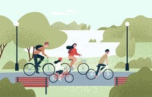 Happy Family Riding Bicycles. Joyful Mother, Father, Daughter And Son On Bikes At Park. Parents And Kids Cycling Together. Recreational Outdoor Activity. Vector Illustration In Flat Cartoon Style.