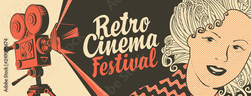 Vector banner on the theme of movie and cinema with old film projector, girl's face and calligraphic inscription Retro cinema festival Tablou Canvas
