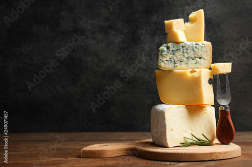 Cheese platter with rosemary and fork Canvas Print