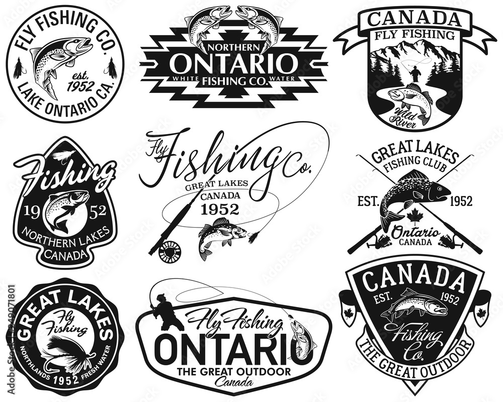 Fototapeta Great lake Canada fly fishing club vintage vector labels collection in black and white