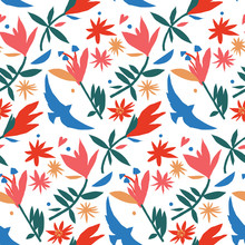Mexican Style Paper Cut Colorful Seamless Pattern