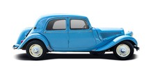 Blue Antique Car Isolated On W...