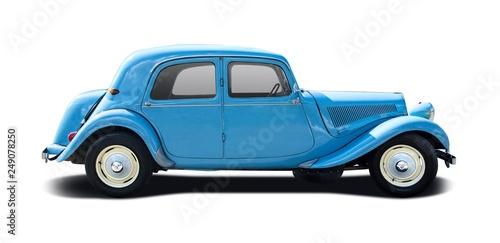 Cadres-photo bureau Vintage voitures Blue antique car isolated on white