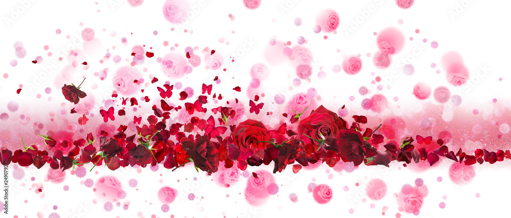 Fototapeta Valentines day banner of red rose buds and flying petals with butterflies, arranged on a line, in front of sparkling glitter and circular bokeh shapes.