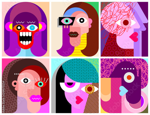 Tuinposter Abstractie Art Six Faces / Six Characters vector illustration