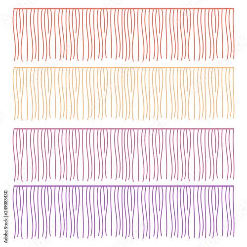 Fringe rows vector garments component  Brush border tassel