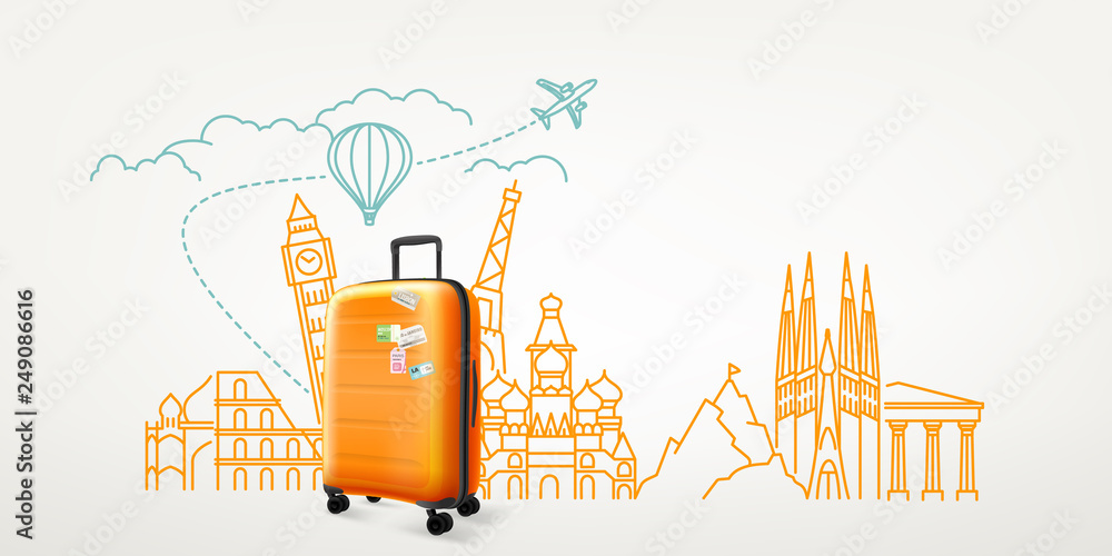 Fototapety, obrazy: Photoreal suitcase with different travel destination elements. World travel vector concept