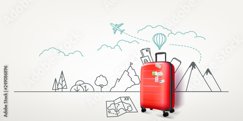 Fototapeta Photoreal red suitcase with cityscape background. World travel vector concept obraz