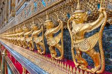 Garudas And Nagas On External Decorations Of The Ubosoth, Wat Phra Kaew Temple, Grand Palace, Bangkok, Thailand.
