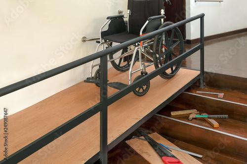 Obraz na plátně House Improvement , Installation wheelchair ramp for the aging and elderly insid