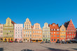 Leinwandbild Motiv Beautiful historical tenement houses at Old Market Square in the Old Town in Wroclaw, Poland.