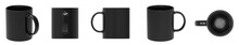 Blank Black Ceramic Mug Cup 5 View On White Background