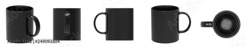 Blank black ceramic mug cup 5 view on white background