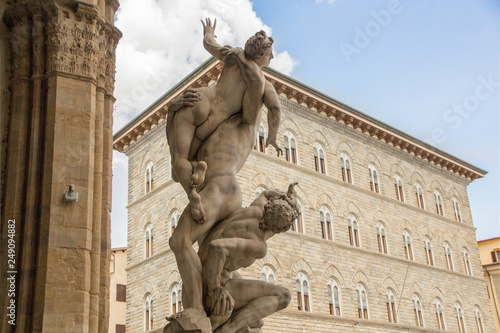 Sculpture The Rape of the Sabine Women, made by sculptor Giambologna (1574–82) Canvas Print