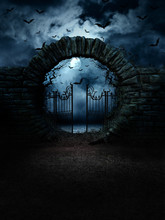 Scary Gate. 3D Studio Decor Background.118*157 Inch. Horror Night. Moonlight.